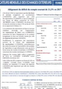 INDICATEURS MENSUELS DES ÉCHANGES EXTÉRIEURS À FIN DÉCEMBRE 2018